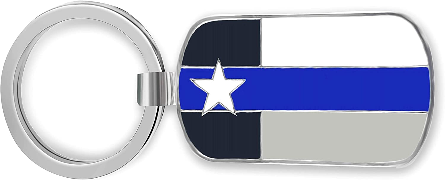 Police Officer Gift - Thin Blue Line Texas Flag Keychain - Honoring Law Enforcement - Gift Idea for Cop