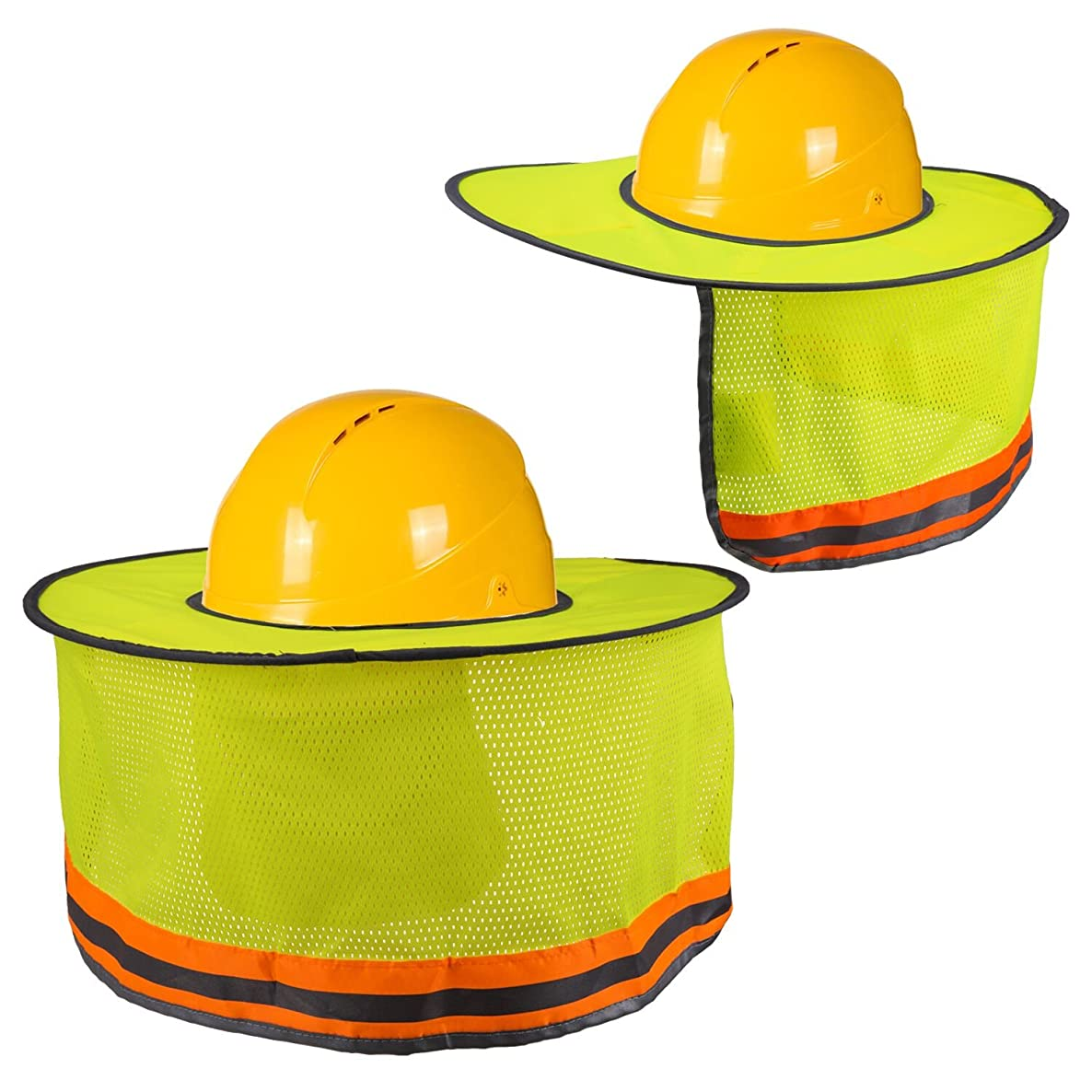 LUTER Hard Hat Sun Shade Neck Shield Sun Protection With Reflective Strip and High Visable Mesh Design For Hardhats/Helmet Construction(2Pcs)