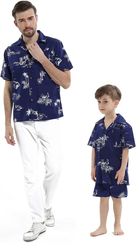 Matching Father Son Hawaiian Luau Outfit Men Shirt Boy Shirt Shorts Navy Classic Flamingo
