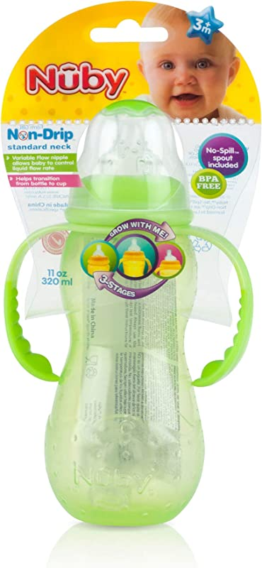 Nuby Non Drip 3 Stage Grow Nurser 11 Ounce Colors May Vary