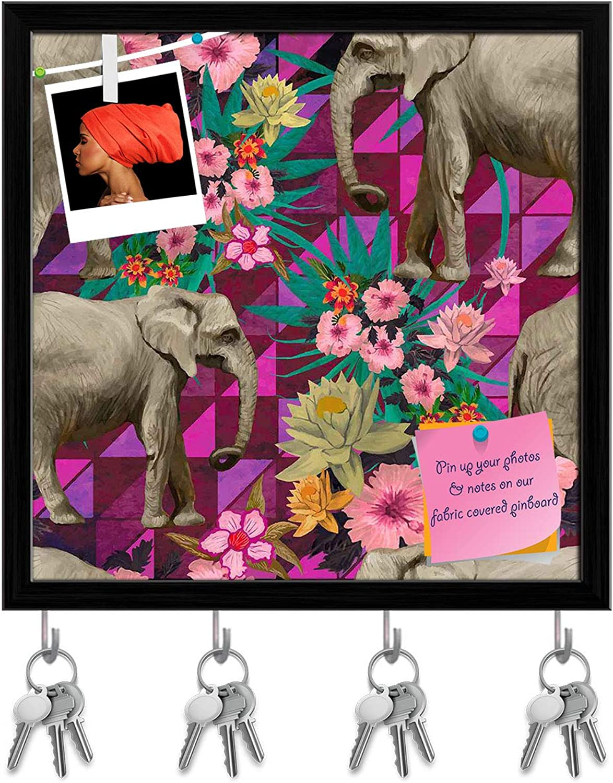 Artzfolio Indian Elephants D6 Key Holder Hooks   Notice Pin Board   Black Frame 20 X 20Inch