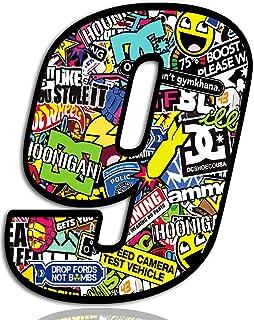 Biomar Labs® Startnummer Nummern Auto Moto Vinyl Aufkleber Sticker Bomb Stickerbomb Motorrad Motocross Motorsport Racing Nummer Tuning 9, N 209
