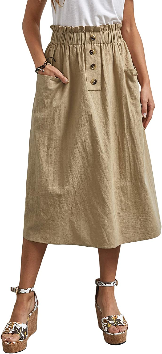 Vintage Skirts | Retro, Pencil, Swing, Boho SweatyRocks Womens Casual High Waist Pleated A-Line Midi Skirt with Pocket $29.89 AT vintagedancer.com