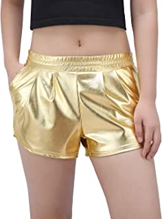 HDE Shorts for Women - Metallic Booty Shorts Elastic Waist Shiny Dolphin Shorts