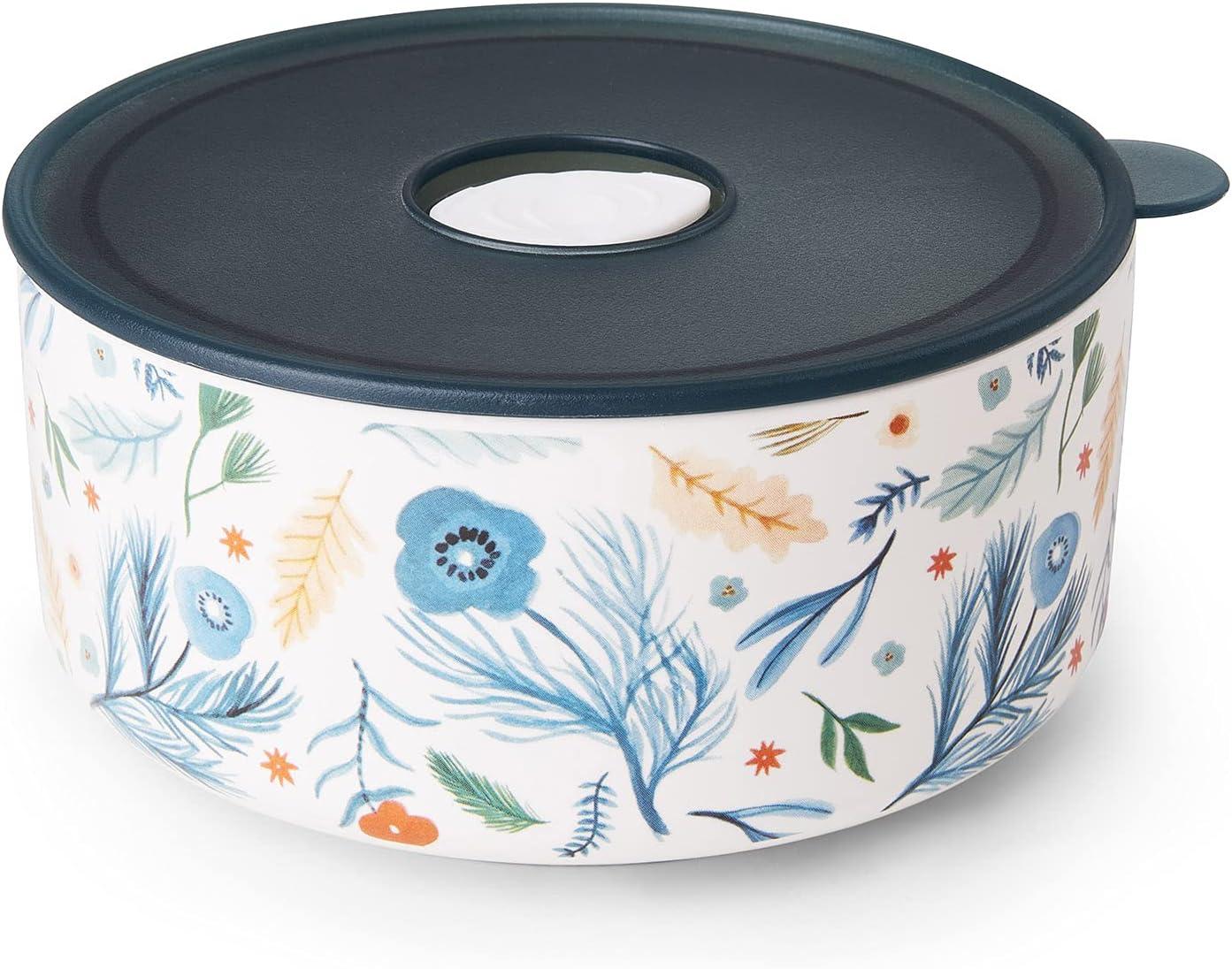 Ceramic Food Storage Bowls   25 oz Ceramic Container   Porcelain Prep Bowl for Kitchen, Microwave & Dishwasher Safe(Blue)