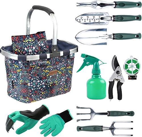 INNO STAGE Ensemble d'outils de Jardin avec 11 Outils à Main, Sac d'outils de Jardin avec des Outils Robustes, Trouss...