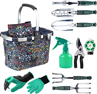 INNO STAGE Garden Tools Set with 11 Pieces Hand Tools for Women, Garden Tools Bag with Heavy Duty Tools, Garden Tool Organizer with Foldable Handle, Gardening Gifts for Mom Floral