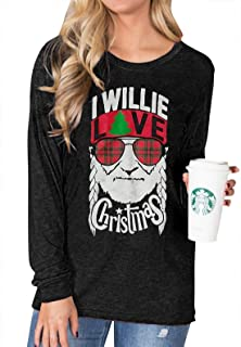 I Willie Love Christmas Graphic Long Sleeve T-Shirt Tops Women's Casual Solid Letter Print Round Neck Blouse Tees
