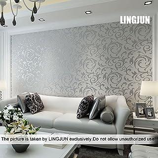 55eeecc261c LINGJUN Moderna no tejido minimalista Patrón Planta de agua 3D Flocado en  relieve del papel pintado