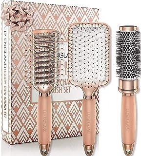 Lily England Rose Gold Hair Brush Set - Luxury Professional Hairbrush Gift Set for All Hair Types - Haarborstel Set - Rose...