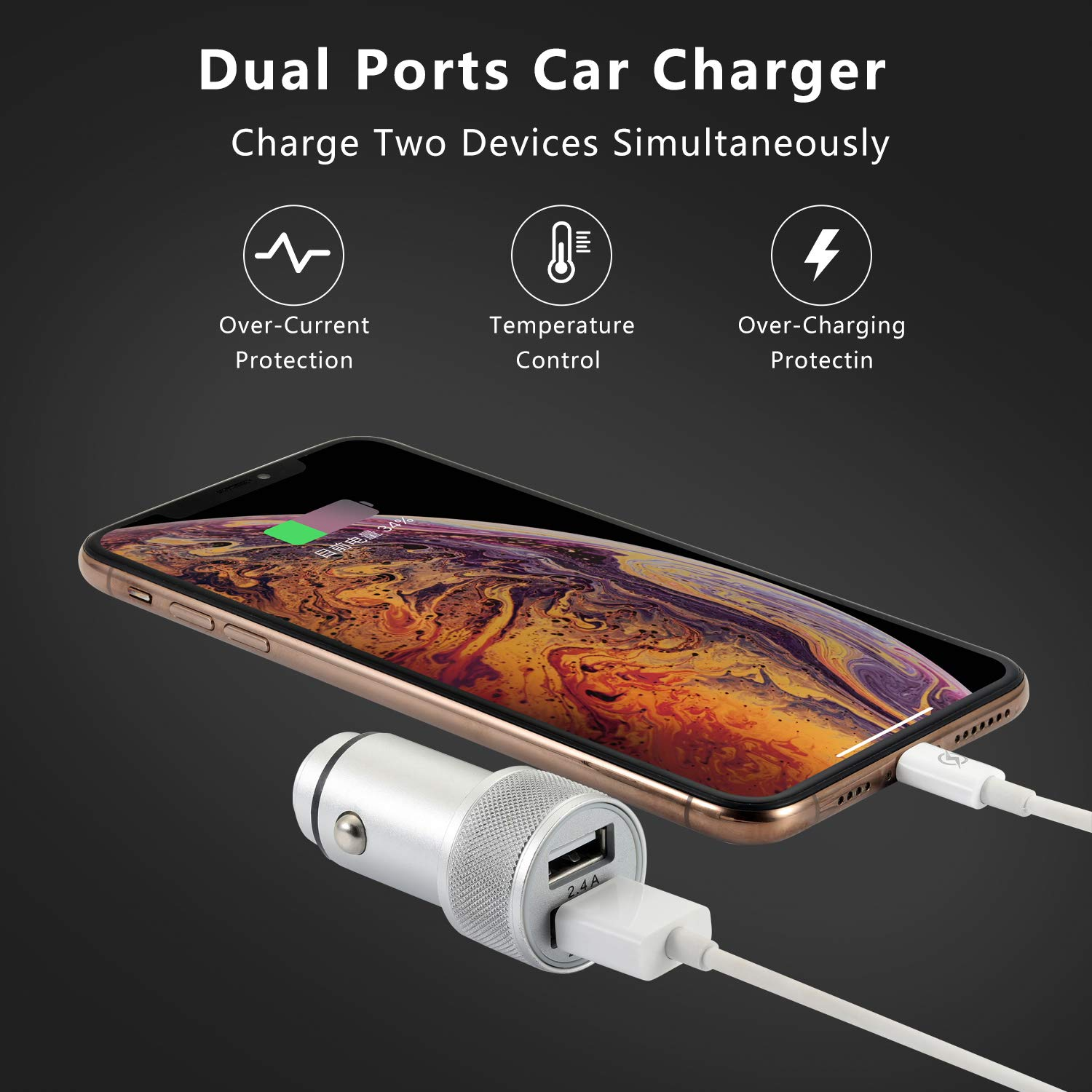2.4A Dual Port USB Car Charger Adapter with 2X 3ft Charger Cable FIMARR Car Charger Compatible with iPhone 11 // Pro Max//XR//XS//X 8//7//6S Plus 5S//5C//SE iPad 3//4 Air Mini Pro 3in1 Pack -Black
