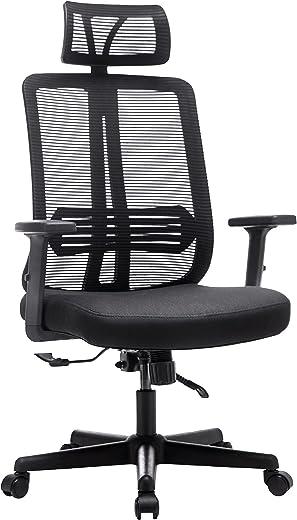 Frarlsh Bürostuhl Ergonomischer Computerstuhl mit elastischer Lendenwirbelstütze Hochlehner Schreibtischstuhl mit Verstellbarer Kopfstütze und…