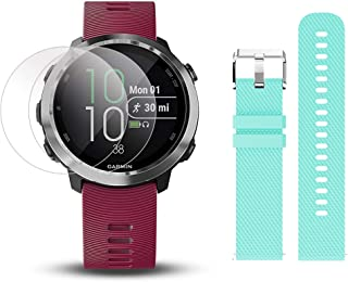 Garmin Forerunner 645 Music Bundle with Extra Band & HD Screen Protector Film (x4) | Running GPS Watch, Wrist HR, Music & Spotify, Garmin Pay (Cerise + Music, Teal)
