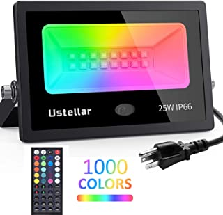 Ustellar 25w RGB LED Flood Light Color Changing Indoor Floodlight Up Light Remote IP66 Waterproof Dimmable RGB Spotlight Backdrop Lighting for Room House Wall Yard Halloween Lights Outdoor Decoration