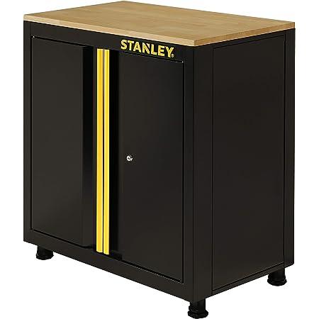 Stanley STST97595-1 Armoire Basse à 2 Portes avec Pieds, Noir, 83,5 x 22,5 x 83 cm