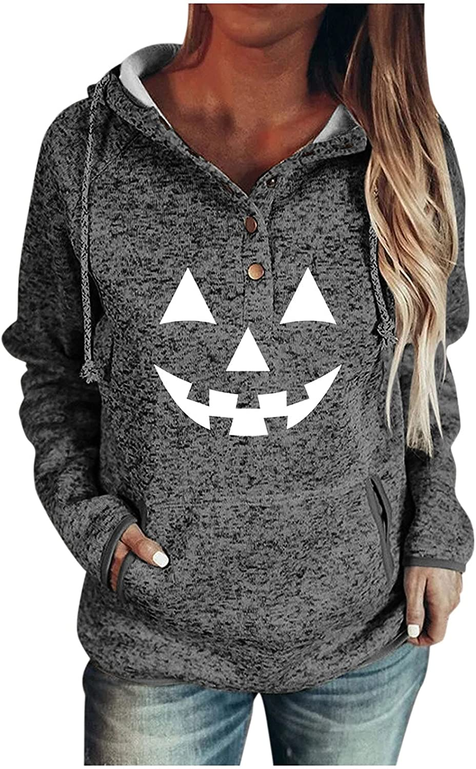 Xinantime Women's Single-Breasted Sweatshirt Hooded Patchwork Halloween Print Tops Ladies Long-Sleeved Blouse with Pockets
