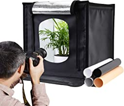 Zecti 16x16 inch/40x40 cm Photo Light Box, Portable Photography Studio Light Box Shooting Tent Table Top Photography Lighting Kit with 4 Background Papers and Brightness Dimmer for Photography
