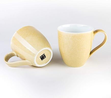 Preisvergleich für Hausmann & Söhne XXL Tasse gelb groß aus Porzellan | Jumbotasse 500 ml (550 ml randvoll) im 2er Set | Kaffeetasse/Teetasse groß | Kaffeebecher | gelbe Tasse 500 ml | Geschenkidee