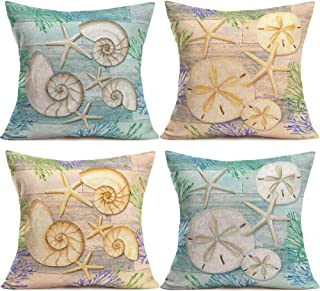 YANGYULUOcean Park ThemeThrow Pillow Covers Wood Marine Life Conch Starfish Sea Urchin Seaweed Decorative Cotton Linen Pillowcase Cushion Cover for Couch Sofa 18X18 Inch, Set of 4 (Wood Marine-1)