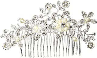 Hair Fascinator Comb - Chicone Ladies Bridal Wedding Prom Flower Hair Clip Headband with Rhinestone Pearls