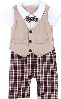 2 قطع الرضع طفل رضيع شهم البدلة الرسمي القوس التعادل رومبير + السراويل الزي الملابس 0-3t (Color : Khaki, Kid Size : 3T)
