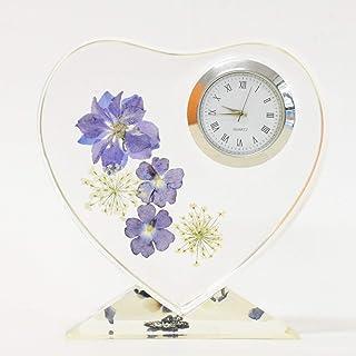 Lulu's ルルズ ハーバリウム 花時計 Flower clock 可愛いハート型のハーバリウム時計 プリザーブドフラワー ドライフラワー サイズ:幅約10cm×高さ約11cm×厚さ約3cm ハートハーバリウム時計 Lulu's-1376