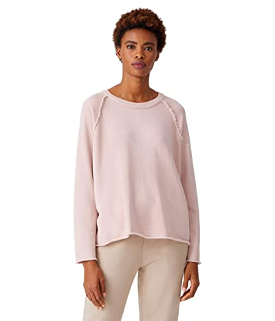 Eileen Fisher Organic Cotton French Terry Boxy Crew (Powder) Women
