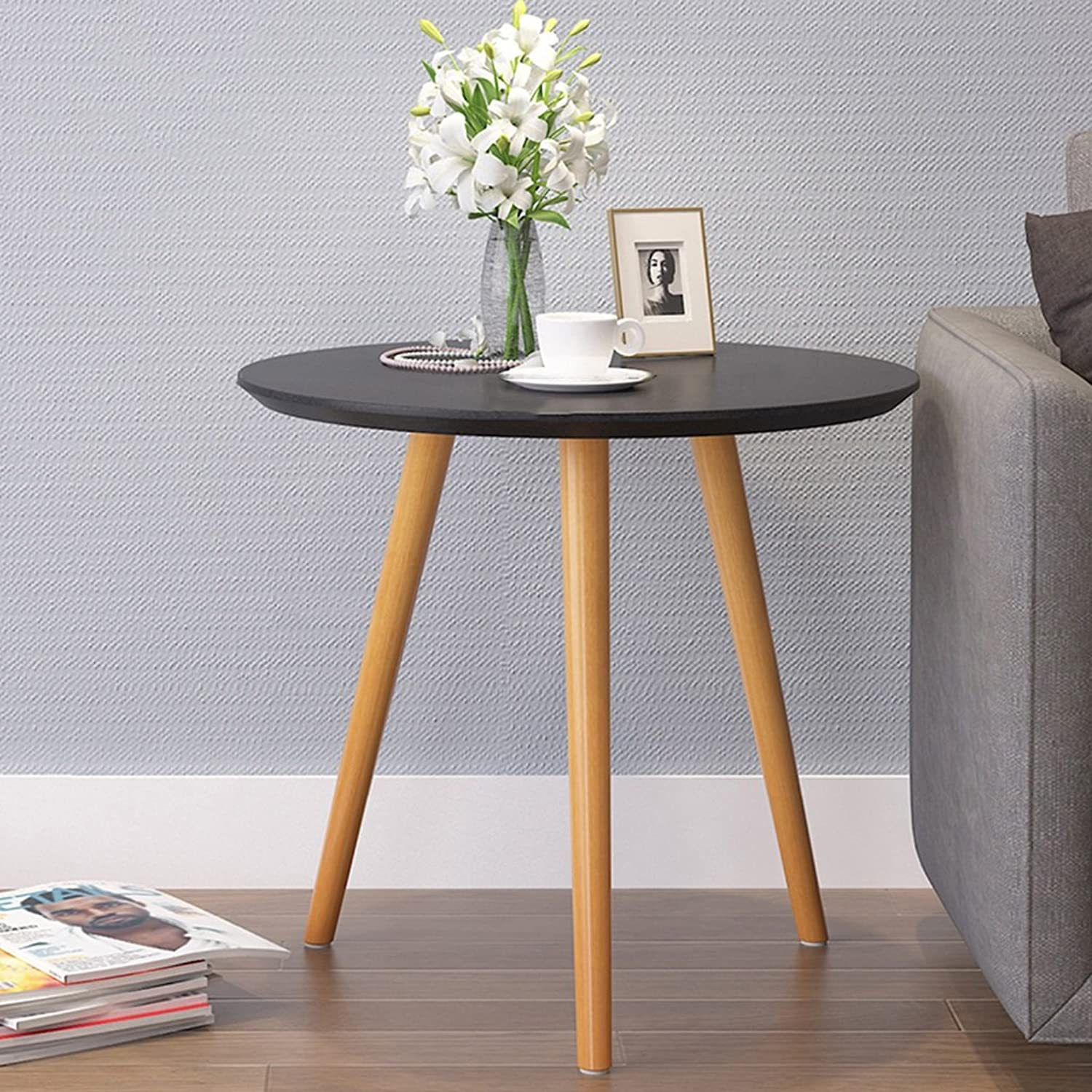 Simple Round Table Solid Wood Sofa Side Scandinavian Simple Balcony Coffee Table (color   Black, Size   48cm 18.9inch)