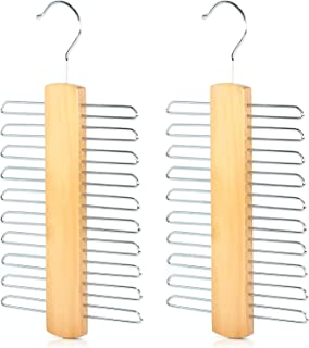 Mein HERZ 2 st scarf hängare, trä 20 bar slipställ hängare, scarf hängare & bältesställ förvaring organisering, halsduk, b...