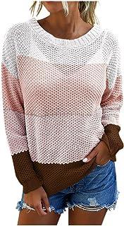 catmoew Camiseta Estampada de Rayas Arcoiris para Mujer Cuello Redondo Estilo Coreano Crop Tops Moda Manga Larga Casual Fu...