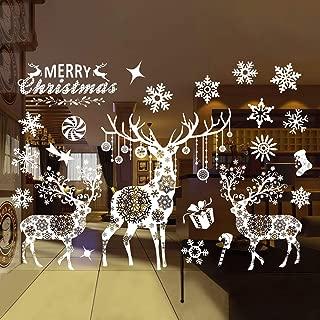 Christmas Decorations Snowflake Window Clings Ornaments,Removable DIY Window Door Xmas Reindeer &Snowflake Wall Sticker Wall Decals Christmas Party Holiday Home Decorations (Deer and Snowflake)