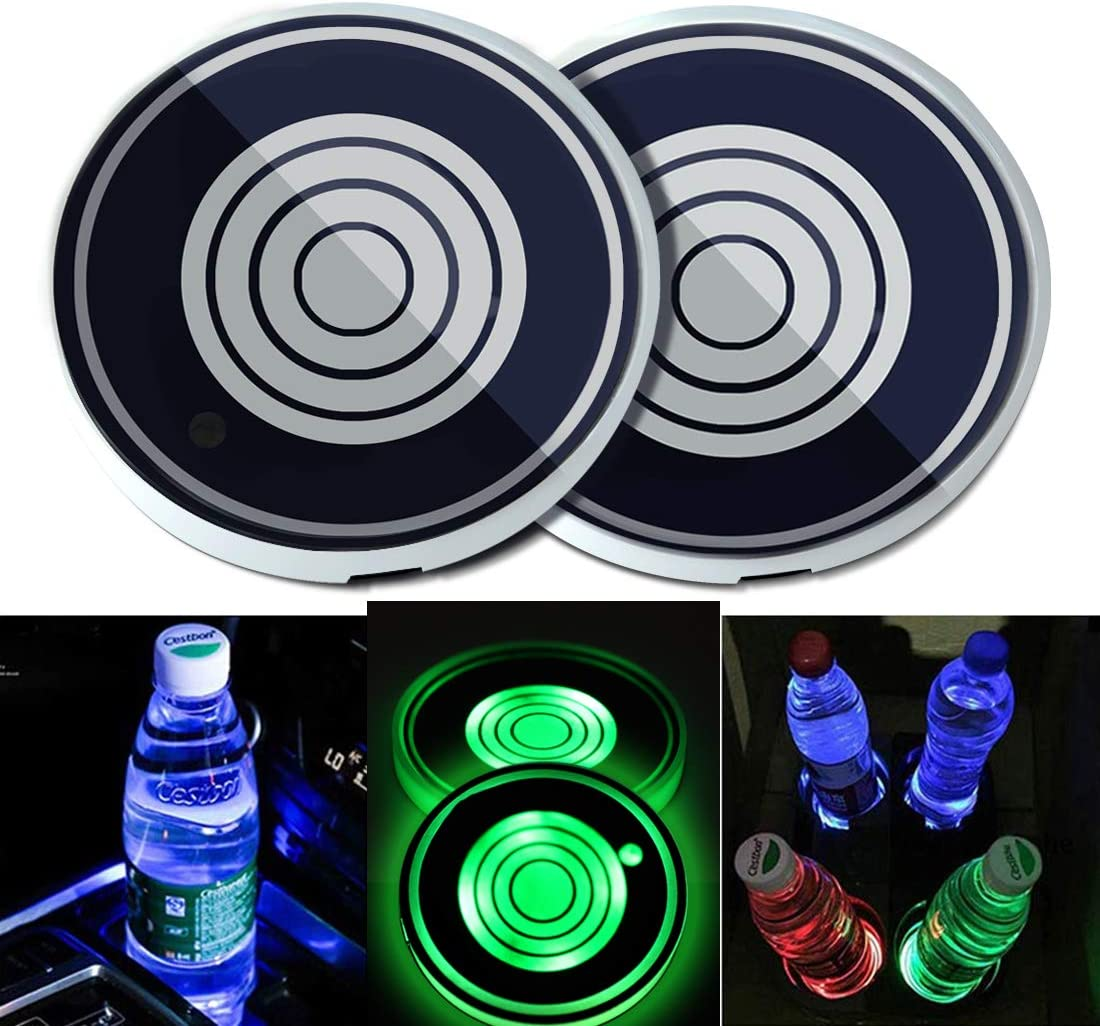 Drinks Coaster Accessories Interior with 7 Colors Changing USB Charging Mat Luminescent Cup Pad N // A Maodaner 2PCS Universal LED Car Cup Holder Lights Auto Decoration Atmosphere Lights US Flag