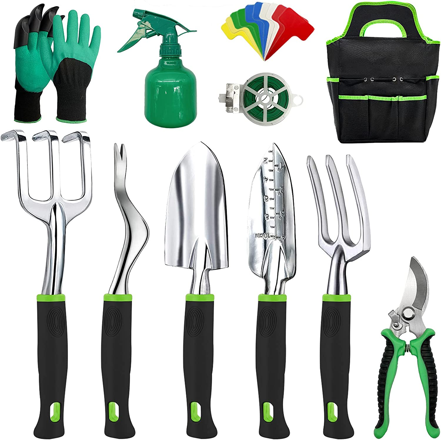 Gardening Tools-Heavy Duty Garden Tools with Gloves&Handbag-Aluminum Outdoor Garden Tools Set with Trowel Pruners and More - Garden Gifts for Men Or Women-Large Size Hand Tools,11pcs