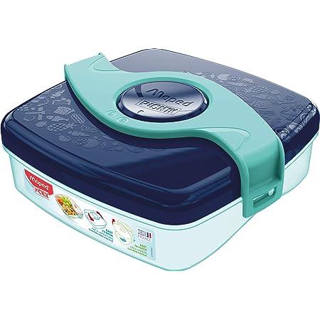 Maped Picnik Origins - Boîte à Goûter Compacte pour Enfants - Ouverture et Nettoyage Facile - Plastique Sans BPA ni Phtalates - Bleu vert - 520ml