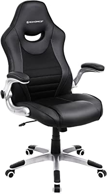SONGMICS Ergonomic Gaming Office Chair, Height Adjustable Racing Chair, Breathable Surface, with Built