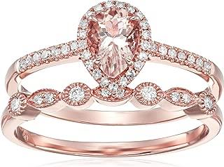 Olivia Paris Women's 14K Rose Gold Pear Morganite and Diamond Halo Vintage Bridal Ring Band Set (1/4 cttw, H-I, I1), 9