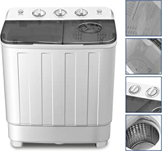 4-EVER Portable Mini Compact Washing Machine Twin Tub Washer and Spinner Dryer Combo 17lbs For Dorms Apartments RV's College Rooms Camping