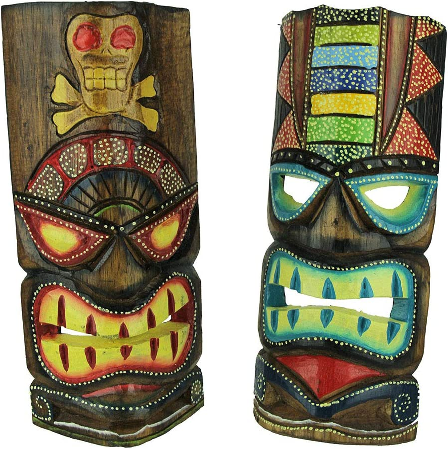 Chesapeake Bay Ltd 12 inch Tall Hand Crafted Wooden Tiki Totem Wall Mask Set of 2