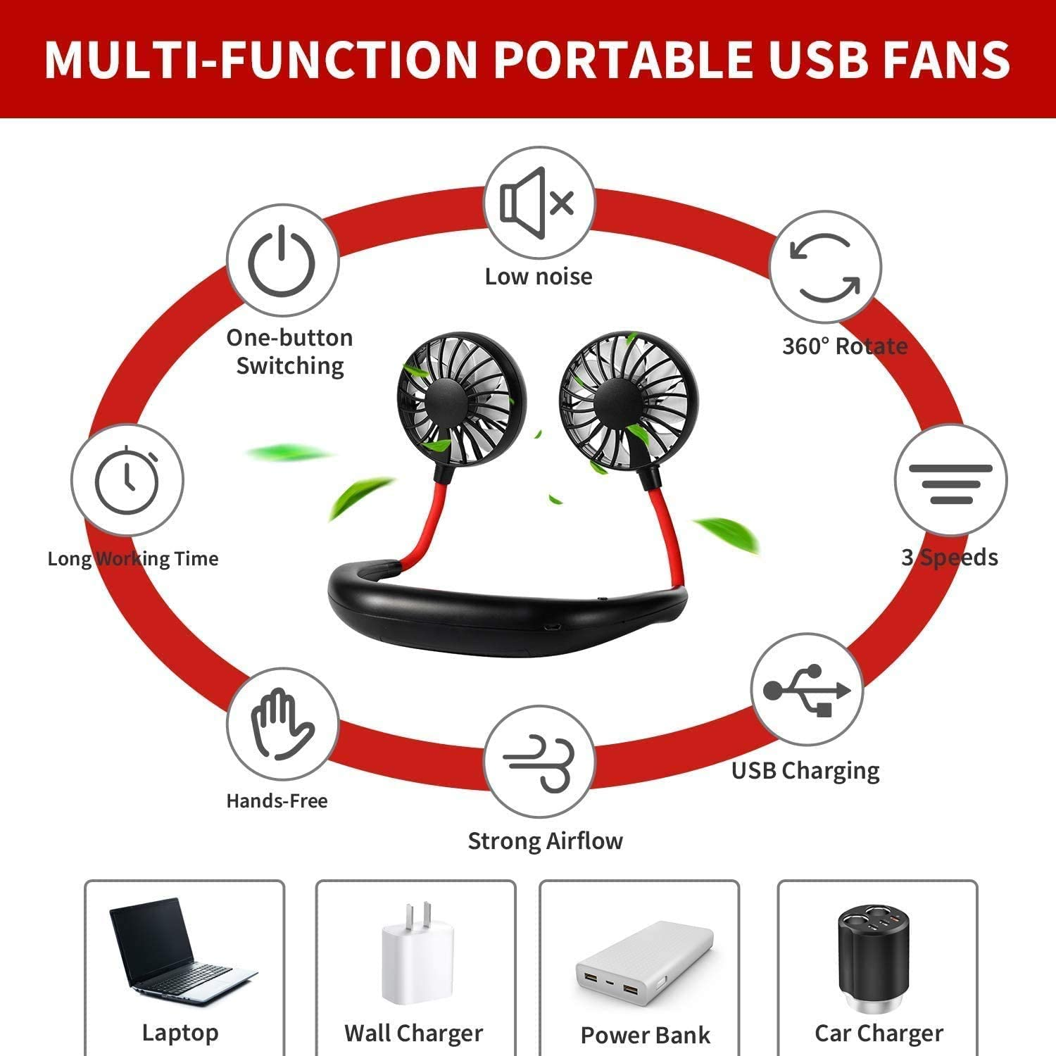 Personal Sport Neck Fan Portable, XUNMEJ Hand Free Mini USB Rechargeable Neckband Fans with 6-13 Hrs Runtime 2000mAh 3 Speed 360 Degrees Free Rotation for Aromatherapy Cooking Outdoor Travel, Blue