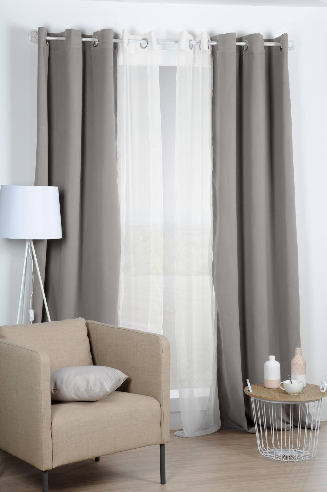 Lovely Casa R64689303 Nelson Rideau Occultant Isolant Polyester Taupe 240 x 135 cm