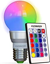 Kobra Retro LED Color Changing Light Bulb with Remote Control- 16 Different Color Choices Smooth Flash or Strobe Mode- Pre...
