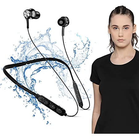 Bluetooth 5.0 Wireless Headphones with Hi-Fi Stereo Sound, 8Hrs Playtime, Lightweight Ergonomic Neckband Earphone, Sweat-Resistant Magnetic Earbuds, Voice Assistant & Mic