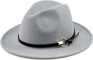 770478e91e4a8 Women Gold Belt Buckle Wool Felt Fedora Hat Winter Fashion Dress Panama Hat