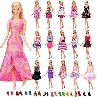 Miunana mucho 22 ARTICULOS: 12 Piezas Vestido Fashion Falda Mini Fiesta Ropas Casual + 10 Zapatos Accesorios como Regalo Estilo al Azar para Barbie Muñeca