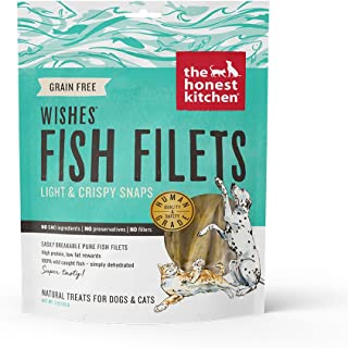 The Honest Kitchen Wishes: Natural Human Grade Dehydrated Grain Free Fish Filets, Treats for Dogs and Cats, 3 oz