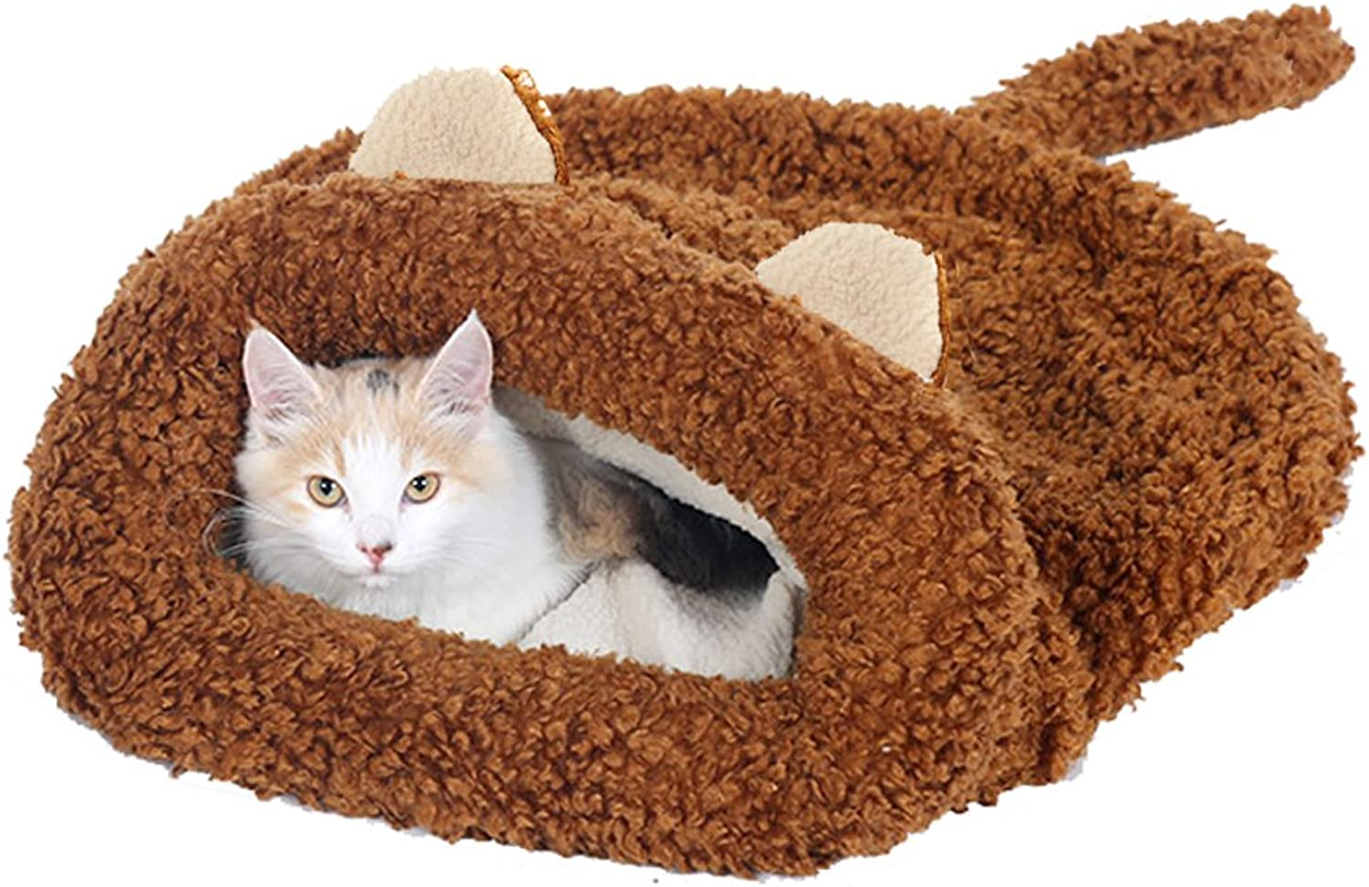 Cat Ear Shape Pet Bed Soft Dog House Cotton Cat Sleeping Bag by Kedera (22  L21.3  W7.87 H)