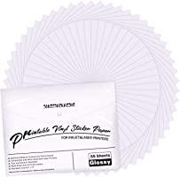 Premium Printable Vinyl Sticker Paper - for Inkjet and Laser Printer - 55 Pack Glossy White Waterproof Inkjet Printable...