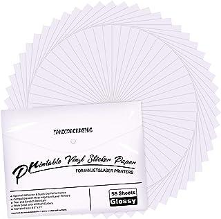 Premium Printable Vinyl Sticker Paper - for Inkjet and Laser Printer - 55 Pack Glossy White Waterproof Inkjet Printable Vi...