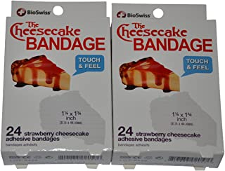 BioSwiss Novelty Bandages Self-Adhesive Funny First Aid, Novelty Gag Gift (2 Boxes of 24 Bandages) (Cheesecake)