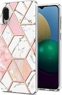 حافظة Ffish لهاتف Samsung Galaxy A02/M02 6.5 بوصة، تصميم رخامي لامع ناعم من السيليكون المطاط TPU غطاء حماية ممتص للصدمات +...